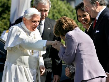 President+Bush+Welcomes+Pope+Benedict+XVI+_68NfXImayal