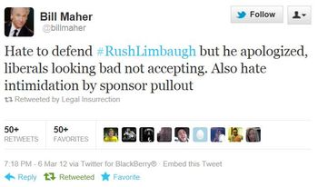 Twitter-@BillMaher-Rush-Limbaugh-Apology